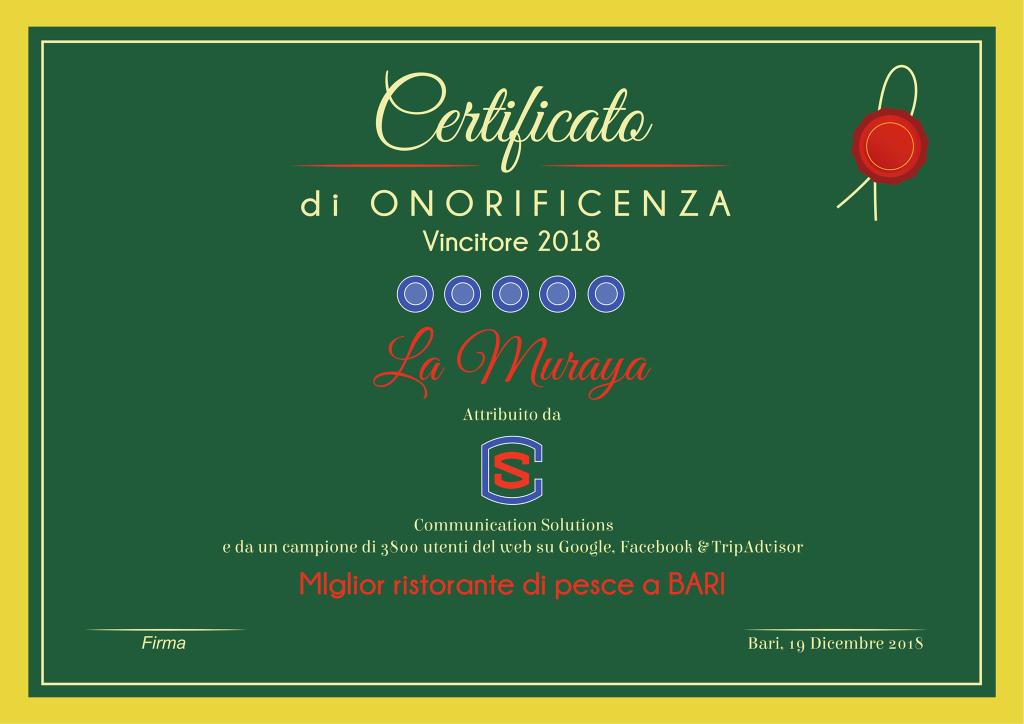 """""""Miglior ristorante di pesce a Bari"""", Certificato di Onorificenza – Vincitore 2018"""